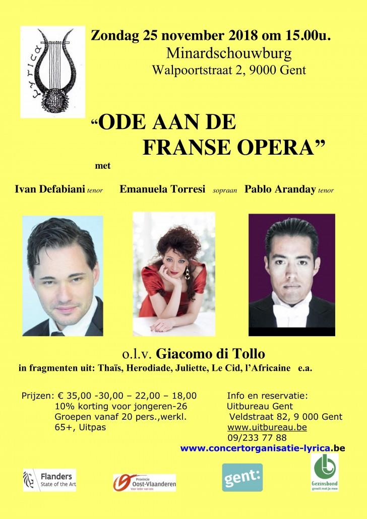 affiche Ode aan de Franse opera 25 november 2018